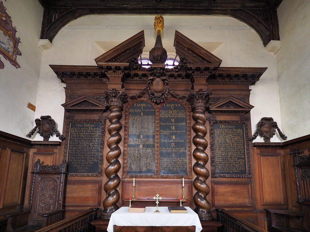 The reredos of Oxhey Chapel, Watford, Hertfordshire.