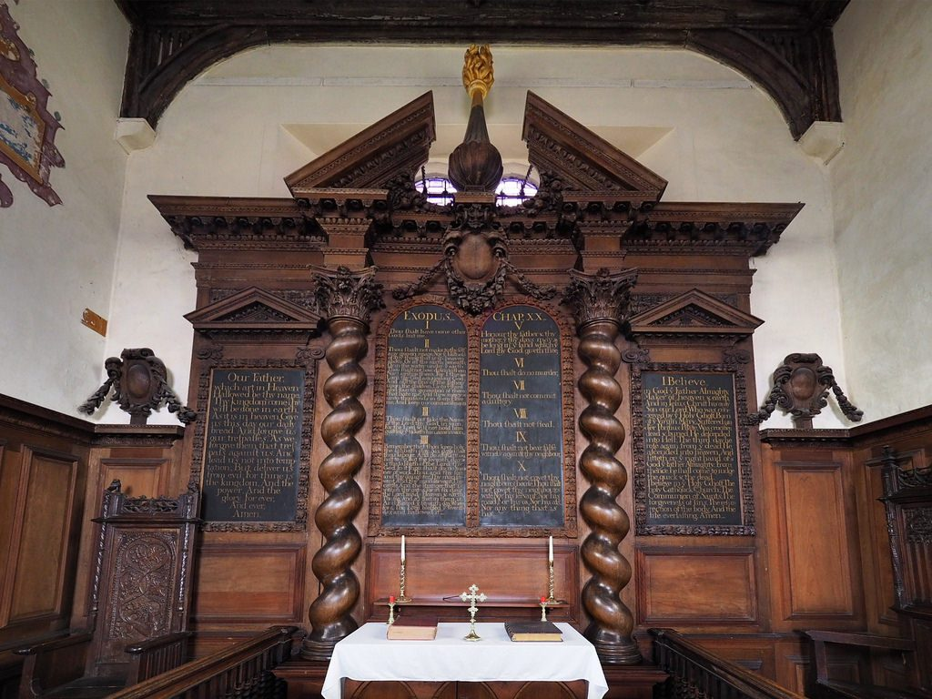 The reredos of Oxhey Chapel, Watford, Hertfordshire.